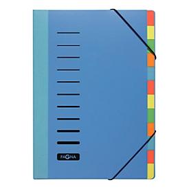 PAGNA sorteermap Color, voor A4, polypropeen, 12 waaiers, blauw