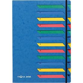 PAGNA sorteermap, voor A4, A-Z, 12 waaiers, karton, blauw