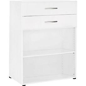 PALENQUE combi-boekenkast, 3 OH, 2 open vakken + 2 laden, B 800 x D 400 x 1104 mm, wit
