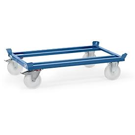 Palletframe, staal, tot 1050 kg, blauw,  polyamide banden, met rem