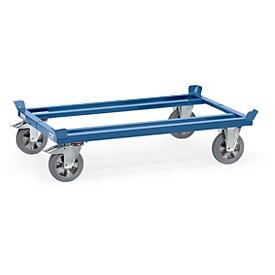 Palletframe, staal, tot 1200 kg, blauw, banden van massief rubber, met rem