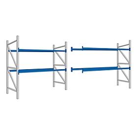 Palletstelling PR 350, Complete stelling 5,4 m, 1 basis- en 1 aanbouwsectie, 2 niveaus, H 2500 x B 5400 x D 1050 mm, dwarssteun
