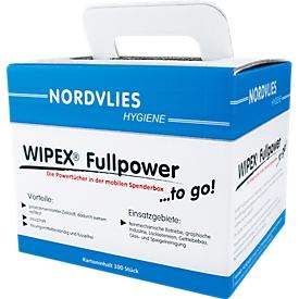Paños de limpieza WIPEX Fullpower, sin pelusa, extremadamente resistentes al desgarro, caja dispensadora