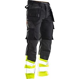 Pantalones Jobman 2277 PRACTICAL, hi-vis, con rodilleras y bolsillos para fundas, protección de advertencia clase I, negro I amarillo, 50