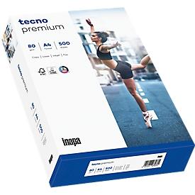 Papel de copia tecno premium, DIN A4, 80 g/m², blanco brillante, 1 caja = 5 x 500 hojas