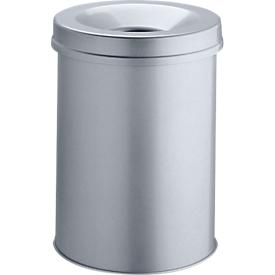 Papelera Safe, metalizado plata