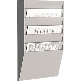 Paperflow Prospekt-Wandhalter A4 quer 6 Fächer, grau