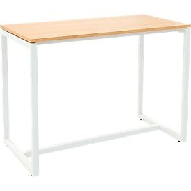 Paperflow Stehtisch Easy Desk, aus Metall, mit Bodenausgleichsschrauben, H 1100 mm, desinfektionsmittelbeständig, buche/weiß