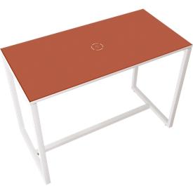 Paperflow Stehtisch Easy Desk, aus Metall, mit Bodenausgleichsschrauben, H 1100 mm, desinfektionsmittelbeständig, rot/weiß
