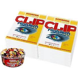 Papier CLIP Hightech colorlaser CC, A4, 100 g/m², 2500 vel + 1 kg doos Haribo Color-Rado snoepen GRATIS