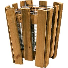 Papierkorb M8 mit Holzleisten