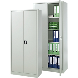 Paquete de valor: 2 armarios de acero, ancho 800/920 x fondo 380/420 x alto 1800/1950 mm, 4,5/5 OH, con cierre, gris claro RAL 7035