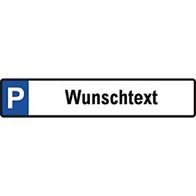 Parkplatz-Reservierungsschild mit Wunschtext (Alu-Dibond)