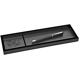 Pennenbakje WEDO Black Office, zwart gematteerd/glanzend, 2 vakken