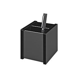 Pennenhouder black Office, 2 vakken, acrylglas, zwart, met rubberen poten