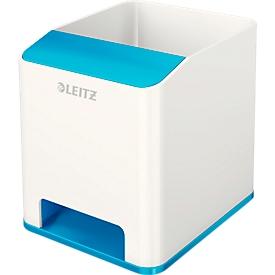 Pennenhouder Leitz WOW Sound, 1 vak, smartphonevak met geluidsversterking, wit/blauw