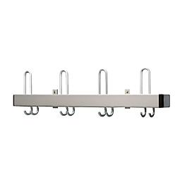 Perchero de pared, soporte de ganchos plano, aluminio, anchura 800mm