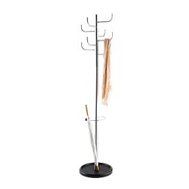 Perchero de pie, 8 ganchos, con paragüero y recogegotas, Al 1720 x ø 390mm, metal, metalizado plata