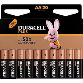 Pilas DURACELL® Plus, Mignon AA, 1,5 V, paquete de 20