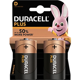 Pilas DURACELL® Plus, mono D, 1,5 V, 2 unidades