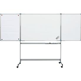 Pizarra blanca abatible MAUL, 2 batientes, móvil, 1500 x 1000mm