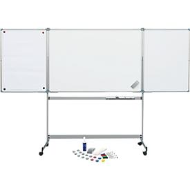 Pizarra blanca de tablero abatible MAUL móvil 1000/1500, 2 batientes, incl. kit de iniciación