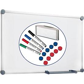 Pizarra blanca MAUL 2000, revestimiento blanco, magnético, An 900 x Al 600mm + juego de accesorios de 15 piezas