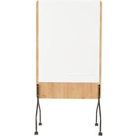 Pizarra blanca móvil Rocada Natural, giratorio, magnético, acero sobre tablero de madera de melamina, An 1000 x Al 1200mm