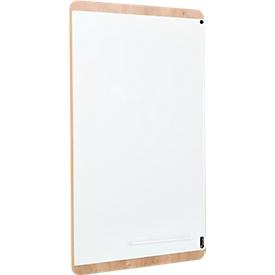Pizarra blanca Rocada Natural, magnético, vertical/apaisado, bandeja de almacenamiento, Acero sobre madera de melamina, An 750 x Al 1150mm