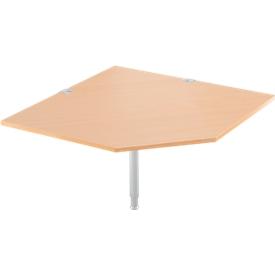placa angular del sistema, CAD, pie, A 1200 x P 1200 mm, haya/aluminio blanco