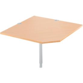 Placa angular del sistema Schäfer Shop Select, CAD, pie, ancho 1000 x fondo 1000 mm, haya/aluminio blanco