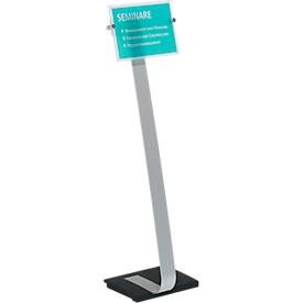 Plakatständer Durable® CRYSTAL SIGN, A4 Hoch- & Querformat, höhenverstell- & drehbar, mit 2 Folien & Anleitung, Aluminium & Acrylglas, metallic-silber