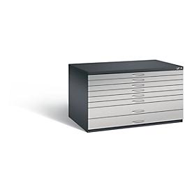 Planschrank aus Stahl, für Formate bis DIN A0, 8 Schubladen