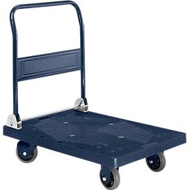 Plateauwagen, L 906 x B 608 mm, met inklapbareduwbeugel, draagvermogen 300 kg,donkerblauw