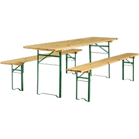 Plooibare tafel en 2 zitbanken, hout