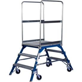 Podestleiter, frei rollbar, einseitig, Stufen Gitterrost, Gr. 3, 49 kg