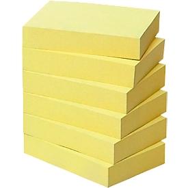 POST-IT Haftnotizen, recycling Papier, 51 mm  x 38 mm, 6 x 100 Blatt, gelb