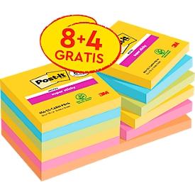 Post-it® notitieblaadjes Super Sticky Notes 9 blokken + 3 blokken GRATIS