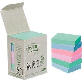 POST-IT zelfklevende notitieblaadjes, gerecycled papier, 51 mm x 38 mm, 6 x 100 vellen, gekleurd