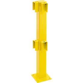Poste, ángulo de 90°, 1000mm, revestido, amarillo