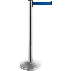 Poste de cinta ALLROUNDLINE, de acero inoxidable, medidas de la cinta L 3000 x An 50mm, juego de 2, azul