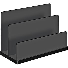 Posthouder WEDO Black Office, zwart gematteerd/glanzend, 2 vakken