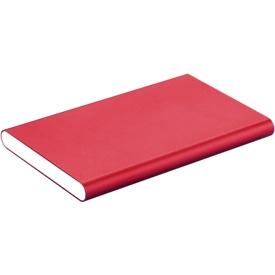 Powerbank, 4.000 mAh, USB + Micro-USB, Aluminium, extra flach, rot
