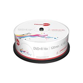 PRIMEON DVD+R, bedrukbaar, tot 16-voudig, 4,7 GB/120 min, spindel met 25 stuks