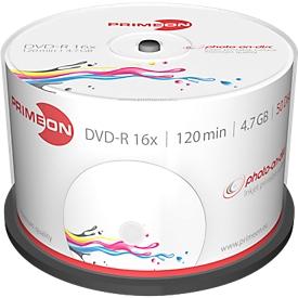 PRIMEON DVD-R, bedrukbaar, tot 16-voudig, 4,7 GB/120 min, spindel met 50 stuks
