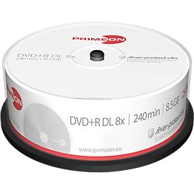 PRIMEON DVD+R DL, spindel met 25 stuks, Zilver Protection