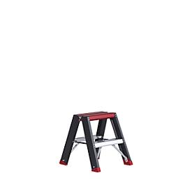 Professional Topline trapladder, 2-zijdig, alu, 2 x 2 treden