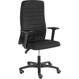 Prosedia Bürostuhl ECCON plus-3, mit Armlehnen, Permanentkontaktmechanik, Flachsitz, 3D-Rückenlehne, schwarz/schwarz