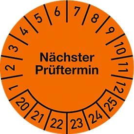 Prüfplakette, Nächster Prüftermin (2020-2025), ø 30 mm, 100 Stück