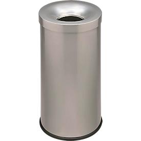 Prullenbak Cocorito, vuurvast, inhoud 50 liter, met deksel, zilver